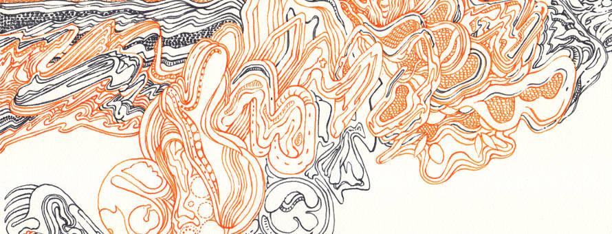 Image à la une, Dessin au trait - Lignes (Feutre noir et orange)