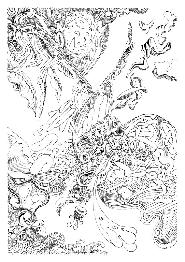 Série limitée à 100 exemplaires d'un dessin au trait réalisé au stylo feutre dont le format est de 21x29,7