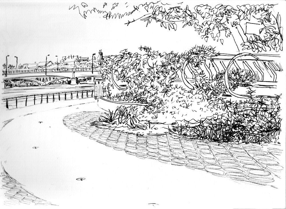 Dessin au stylo bille des bords du Rhône réalisé à Lyon