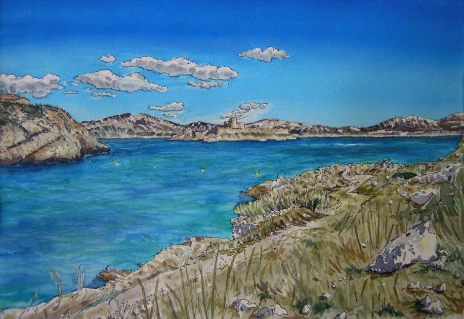 L'île du Frioul, Marseilles-dessin2